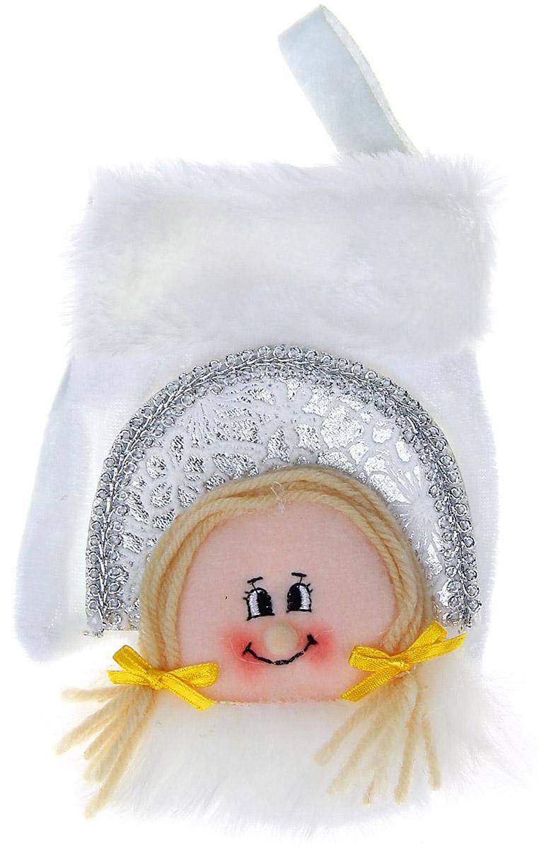Варежка подарочная Sima-land Снегурочка, цвет: белый, 16 см свеча ароматизированная sima land лимон на подставке высота 6 см