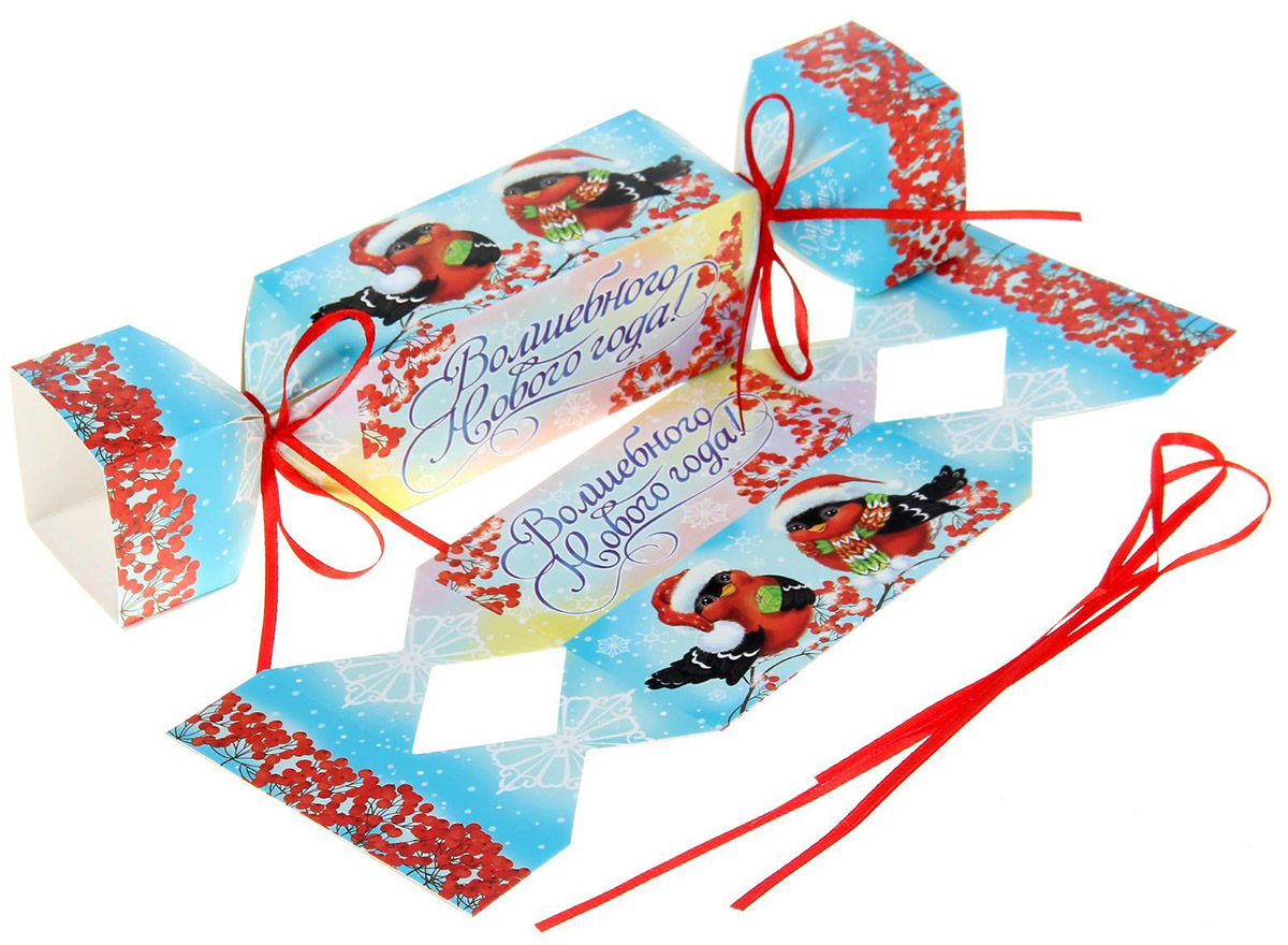 Коробка-конфета складная Sima-land Снегири, 23 х 5 см коробка складная дарите счастье снегири на санях цвет синий красный 23 5 х 14 5 х 18 см
