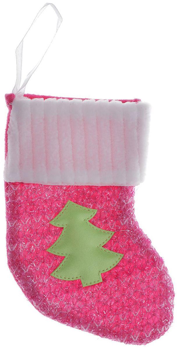 Носок для подарков Sima-land Елочка, цвет: розовый, 14 х 9 см1102742Оригинальный носок для подарков Sima-land - отличное обрамление для подарков! Также это - красивый сувенир, который украсит любой дом в новогодний праздник. Прекрасная традиция класть подарки в подвесной мешочек-носок добавит волшебства в новогоднюю ночь!