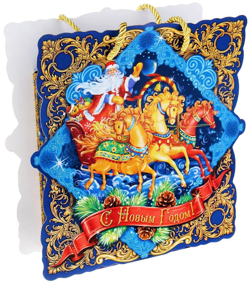Коробка-открытка подарочная Sima-land Новогодняя Тройка, 25 х 26 см