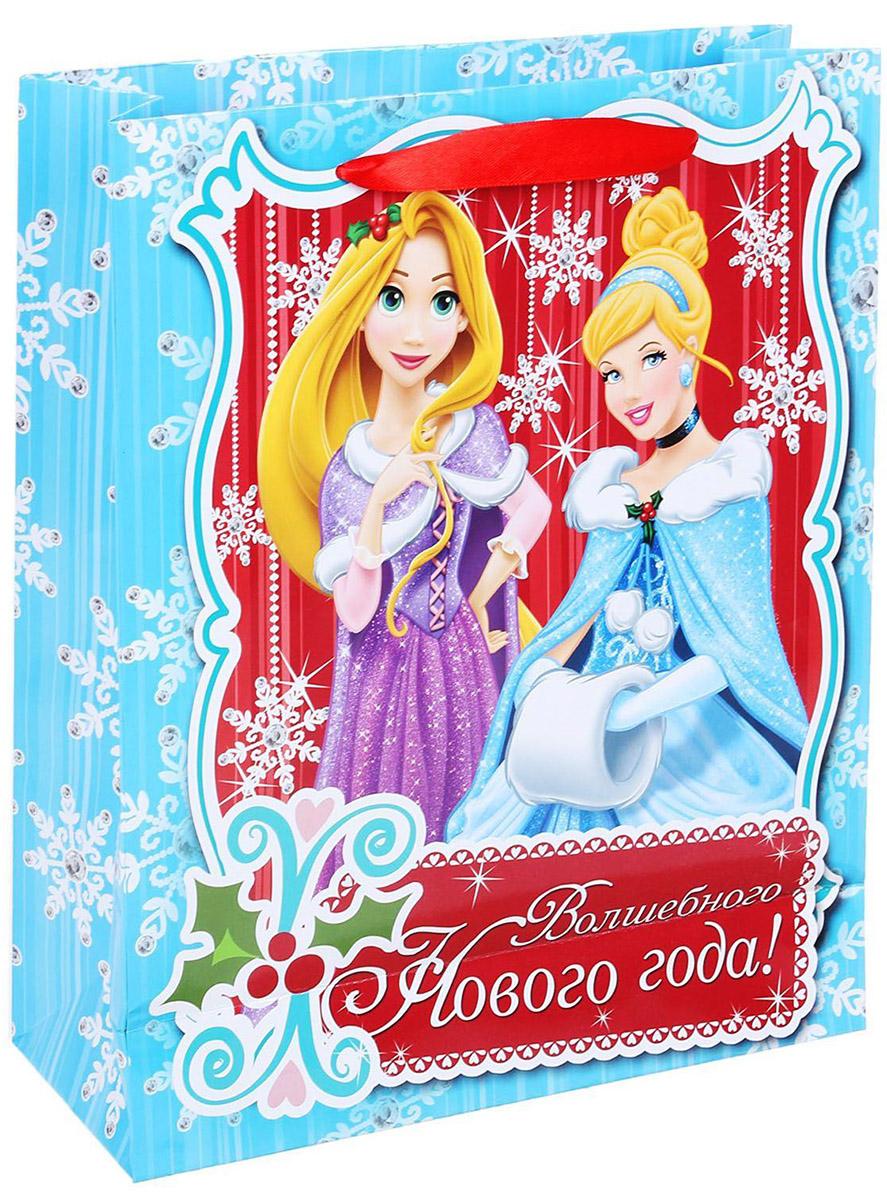 """Подарочный пакет Disney """"Волшебного Нового Года"""", изготовленный из картона, станет незаменимым дополнением к выбранному подарку. Для удобной переноски на пакете имеются две ручки.  Подарок, преподнесенный в оригинальной упаковке, всегда будет самым эффектным и запоминающимся. Окружите близких людей вниманием и заботой, вручив презент в нарядном, праздничном оформлении."""