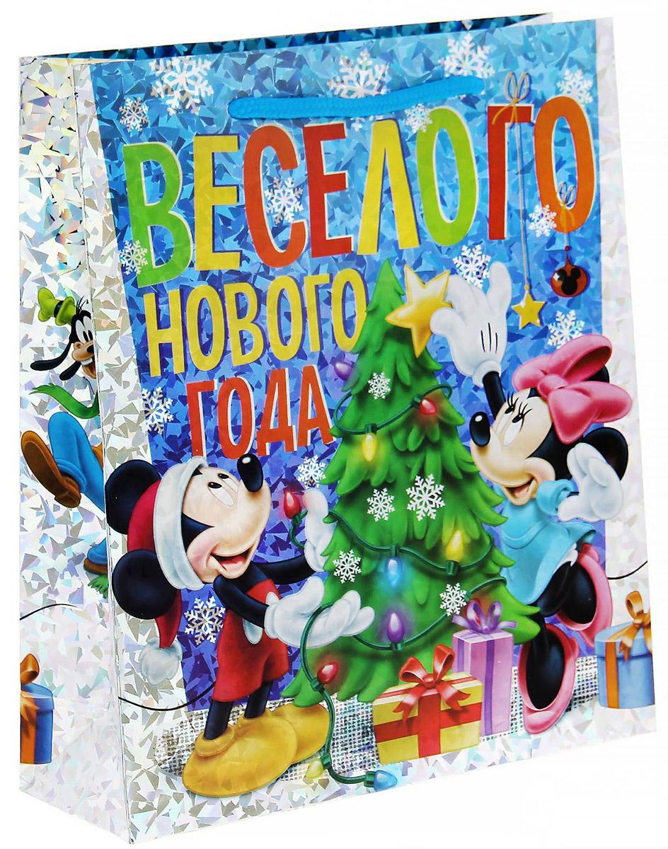 Пакет подарочный Disney Микки. Веселого Нового года!, голография, вертикальный, 23 х 27 см1121622Подарочный пакет Disney Микки. Веселого Нового года!, изготовленный из картона, станет незаменимым дополнением к выбранному подарку. Для удобной переноски на пакете имеются две ручки.Подарок, преподнесенный в оригинальной упаковке, всегда будет самым эффектным и запоминающимся. Окружите близких людей вниманием и заботой, вручив презент в нарядном, праздничном оформлении.