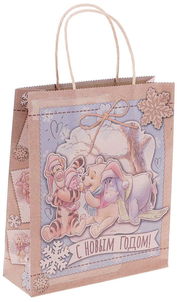 Пакет подарочный Disney Медвежонок Винни. С Новым годом!, вертикальный, крафт, 23 х 27 см1123124Подарочный пакет Disney Медвежонок Винни. С Новым годом! станет незаменимым дополнением к выбранному подарку. Для удобной переноски на пакете имеются две ручки.Подарок, преподнесенный в оригинальной упаковке, всегда будет самым эффектным и запоминающимся. Окружите близких людей вниманием и заботой, вручив презент в нарядном, праздничном оформлении.