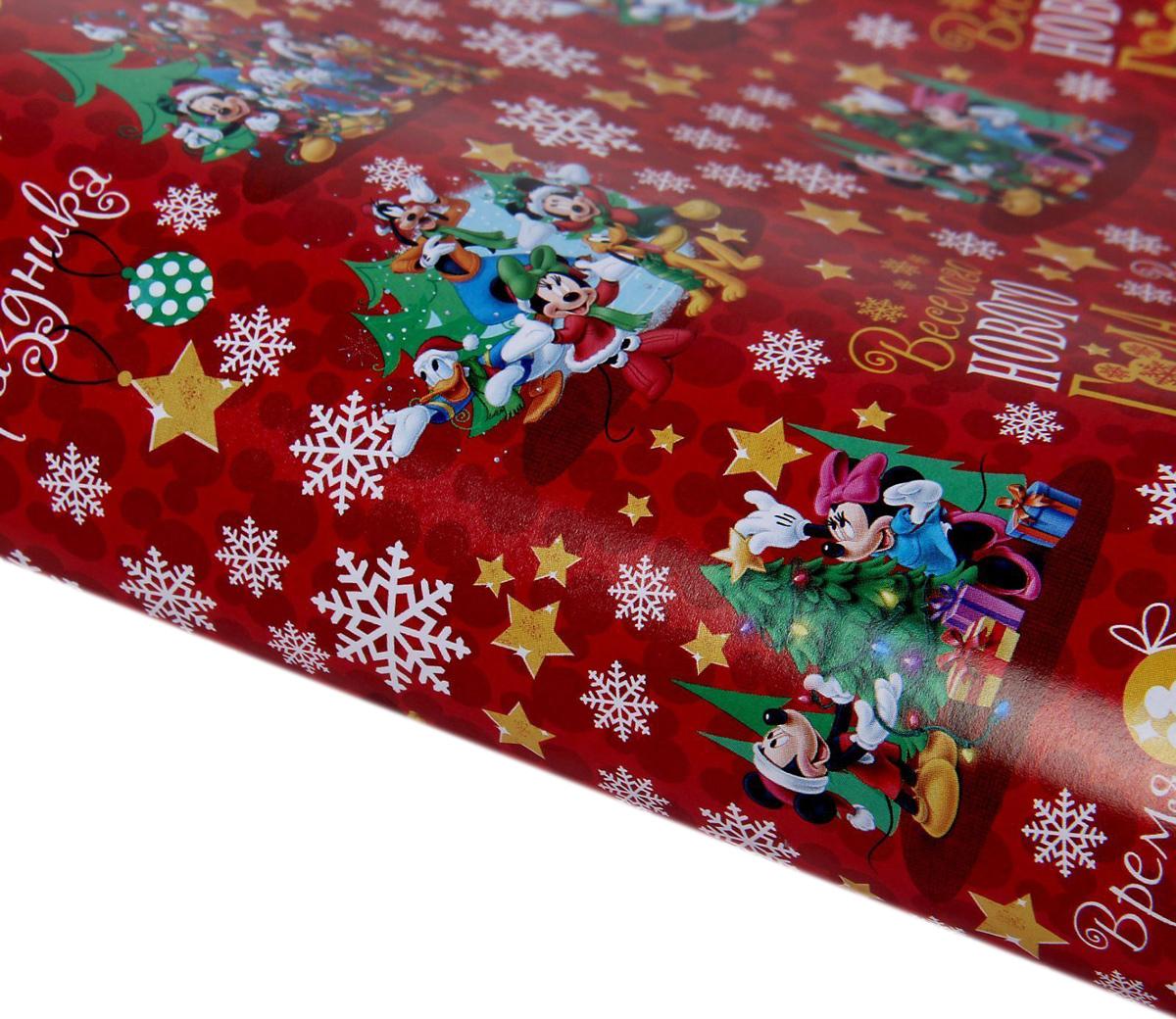 Бумага упаковочная Disney Веселого Нового Года. Микки Маус и друзья, глянцевая, 70 х 100 см1138992Это стильный и модный тренд в декоре и упаковке. Она универсальна в оформлении любой продукции и подарка и сделает даже обычный презент заметным, приятным и стильным.