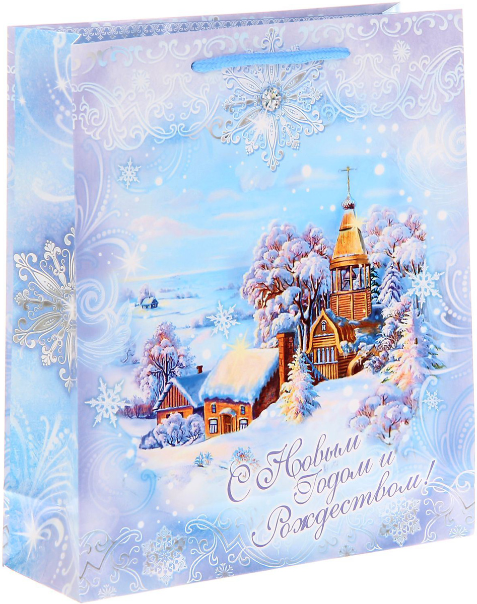 Пакет подарочный Sima-land Снежная сказка, 23 х 27 х 8 см сумка дорожная sima land цвет черный 50 х 23 х 27 см 1847803