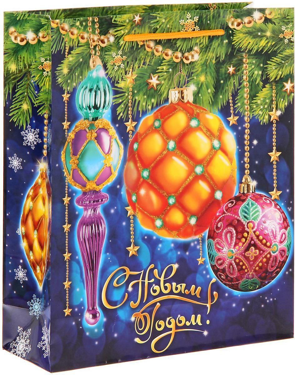 Пакет подарочный Sima-land Новогодние шарики, 23 х 27 х 8 см сумка дорожная sima land цвет черный 50 х 23 х 27 см 1847803