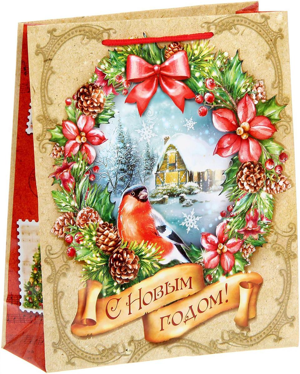 Пакет подарочный Sima-land Снегирь, вертикальный, 23 х 27 х 8 см пакет ламинат вертикальный sima land со светлой пасхой 18 х 23 х 8 см