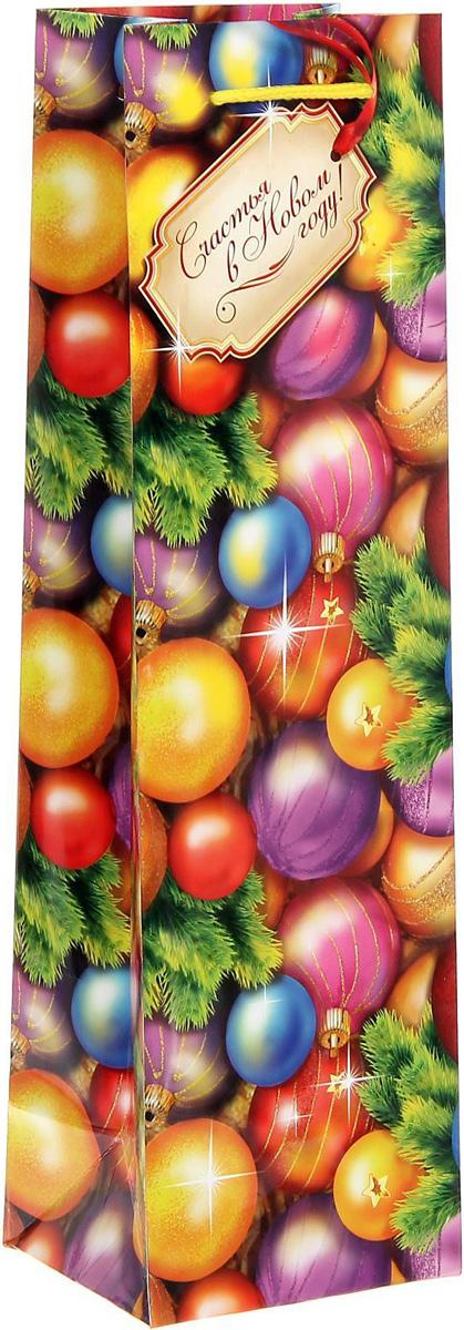 Пакет подарочный Sima-land Счастья в Новом году!, под бутылку, 10,5 х 36 х 9 см1304186Подарочный пакет под бутылку Sima-land, изготовленный из плотной ламинированной бумаги, станет незаменимым дополнением к выбранному подарку. Дно изделия укреплено плотным картоном, который позволяет сохранить форму и исключает возможность деформации дна под тяжестью подарка. Для удобной переноски имеются две ручки из шнурков.Подарок, преподнесенный в оригинальной упаковке, всегда будет самым эффектным и запоминающимся. Окружите близких людей вниманием и заботой, вручив презент в нарядном, праздничном оформлении.