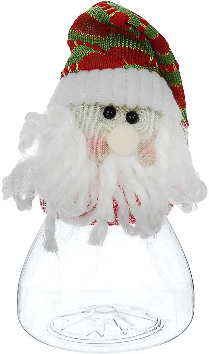 Конфетница Sima-land Дедушка Мороз, в колпаке, вместимость 80 г1308745Нарядная банка-конфетница Sima-land изготовлена из сочетания текстиля и пластика. Яркий символичный персонаж на передней стороне изделия создаст новогоднее настроение. Креативная упаковка сделает ваш презент особенным и самым запоминающимся.Вместительность: 80 г.