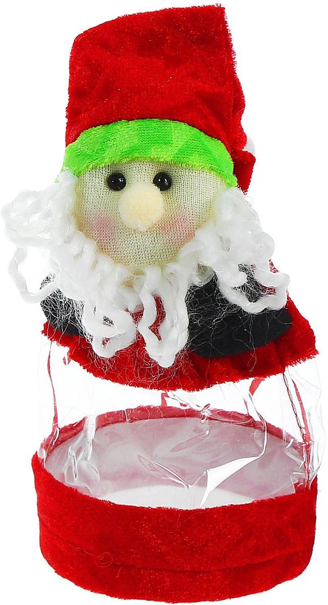 Конфетница Sima-land Дед Мороз, в колпачке, цвет: красный, вместимость 150 г1308748Нарядный мешочек-конфетница Sima-land изготовлен из сочетания текстиля и пластика. Конфетница закрывается на утягивающий шнурочек. Яркий символичный персонаж на передней стороне изделия создаст новогоднее настроение. Креативная упаковка сделает ваш презент особенным и самым запоминающимся.Вместительность: 150 г.