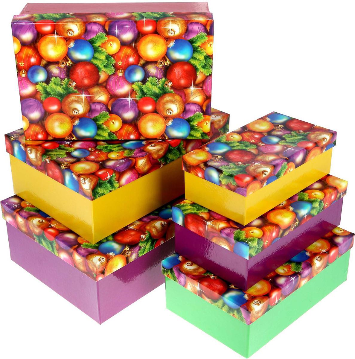 Набор коробок Sima-land Новогодние шары, 22,5 х 12,5 х 7,5 см, 25 х 15 х 8,5 см, 27 х 17 х 9,5 см, 30 х 20 х 10,5 см, 6 шт1350282Набор коробок Sima-land выполнен из картона. В наборе 6 коробок.Оригинальная упаковка выделит презент из массы других, расскажет о ваших теплых чувствах, наполнит праздник сказочной атмосферой.