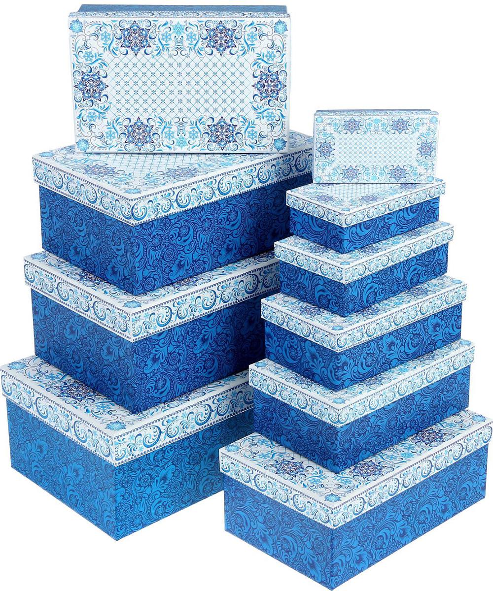 Набор коробок Sima-land Морозный Новый Год , 12 х 7 х 4 см, 32,5 х 20 х 12,5 см, 10 шт1350283Набор коробок Sima-land выполнен из картона. В наборе 10 коробок. Оригинальная упаковка выделит презент из массы других, расскажет о ваших теплых чувствах, наполнит праздник сказочной атмосферой.
