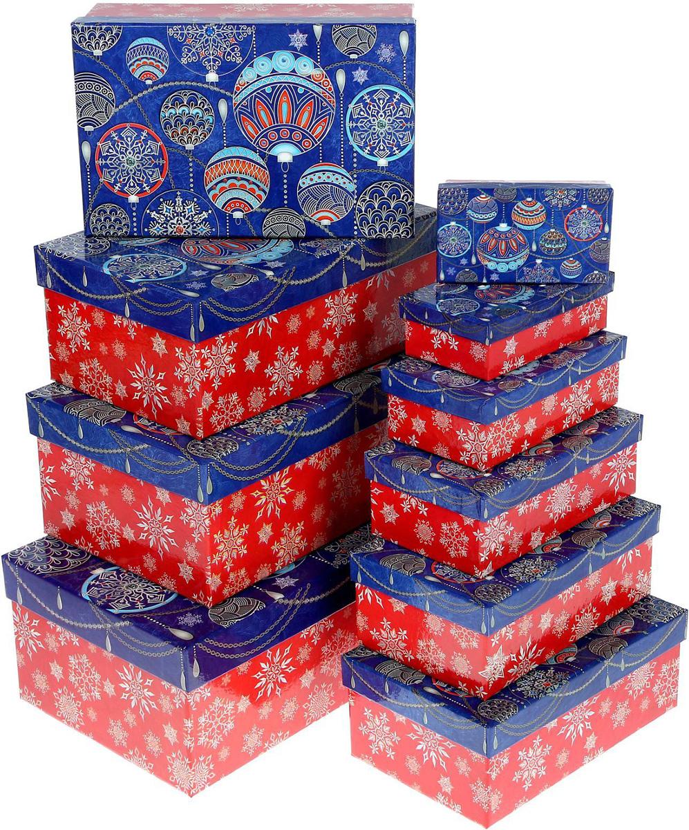 Набор коробок Sima-land Узорные шарики , 12 х 7 х 4 см, 32,5 х 20 х 12,5 см, 10 шт1350284Набор коробок Sima-land выполнен из картона. В наборе 10 коробок. Оригинальная упаковка выделит презент из массы других, расскажет о ваших теплых чувствах, наполнит праздник сказочной атмосферой.