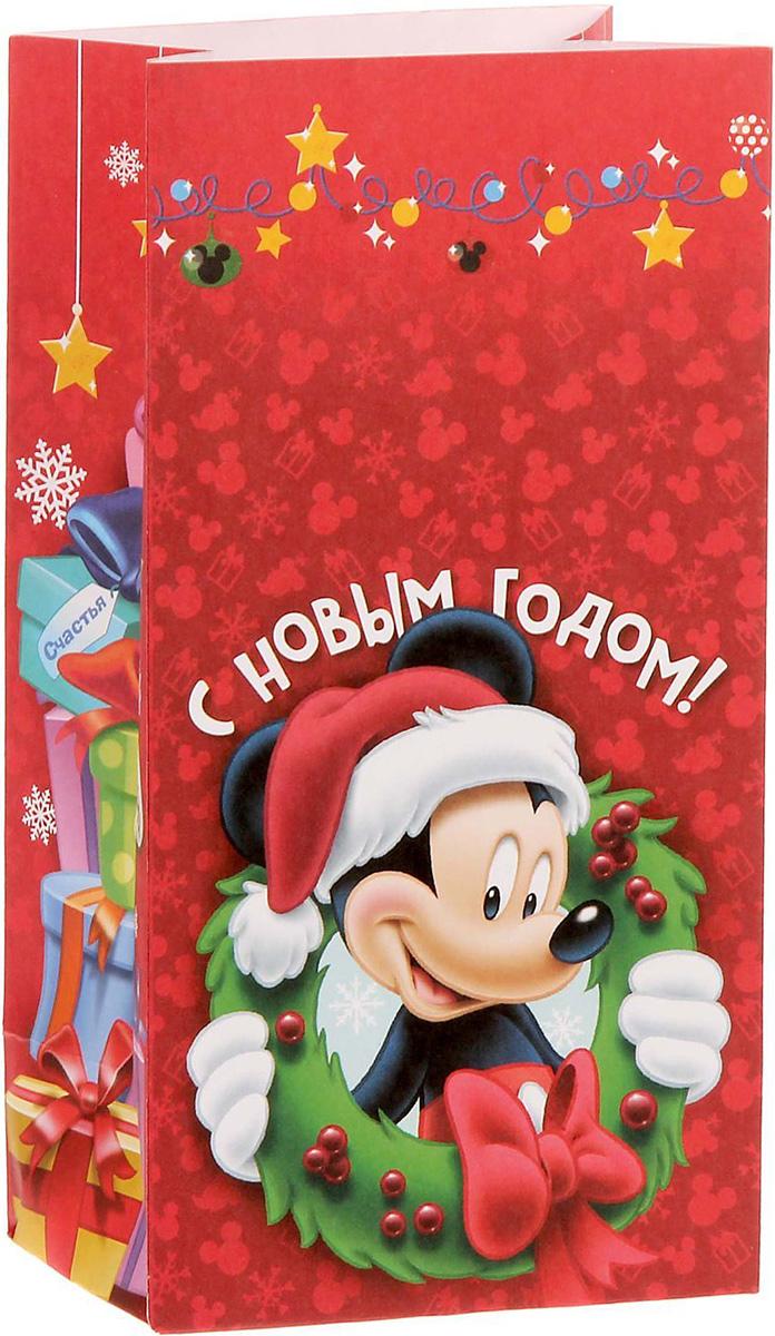Пакет подарочный Disney Микки Маус. С Новым годом!, без ручек, 10 х 19,5 х 7 см1360551Подарочный пакет Disney Микки Маус. С Новым годом!, изготовленный из текстиля, станет незаменимым дополнением к выбранному подарку. Подарок, преподнесенный в оригинальной упаковке, всегда будет самымэффектным и запоминающимся. Окружите близких людей вниманием и заботой, вручив презент в нарядном, праздничном оформлении.
