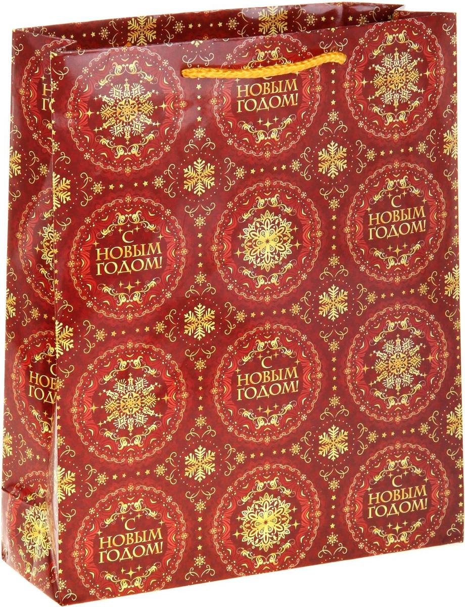 Пакет подарочный Sima-land С Новым годом, 18 х 23 см186455Подарочный пакет Sima-land, изготовленный из плотной бумаги, станет незаменимым дополнением к выбранному подарку. Дно изделия укреплено плотным картоном, который позволяет сохранить форму и исключает возможность деформации дна под тяжестью подарка. Для удобной переноски имеются две ручки из шнурков.Подарок, преподнесенный в оригинальной упаковке, всегда будет самым эффектным и запоминающимся. Окружите близких людей вниманием и заботой, вручив презент в нарядном, праздничном оформлении.