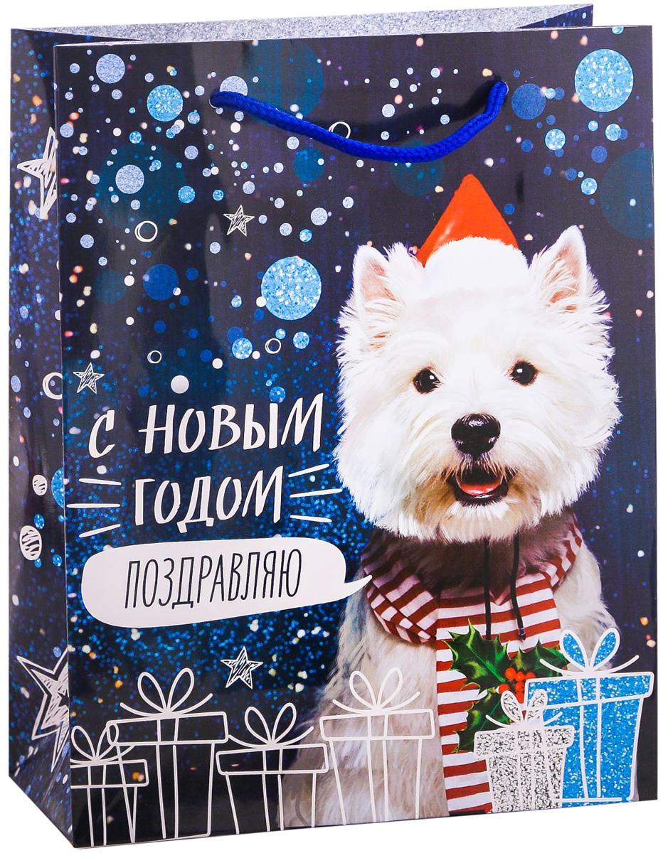 Пакет подарочный Дарите Счастье Новогоднее поздравление, вертикальный, 18 х 23 х 8 см2113726Привлекательная упаковка послужит достойным украшением любого, даже самого скромного подарка. Она поможет создать интригу и продлить время предвкушения чуда - момента, когда презент окажется в руках адресата.Подарочный пакет Дарите Счастье Новогоднее поздравление имеет яркий, оригинальный дизайн, который обязательно понравится получателю! Изделие выполнено из плотной бумаги, благодаря чему обеспечит надёжную защиту содержимого. Размер: 18 х 23 х 8 см.