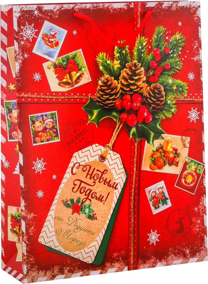 Пакет подарочный Дарите Счастье Подарок от Деда Мороза, вертикальный, 31 х 40 х 9 см2113806Привлекательная упаковка послужит достойным украшением любого, даже самого скромного подарка. Она поможет создать интригу и продлить время предвкушения чуда - момента, когда презент окажется в руках адресата.Подарочный пакет Дарите Счастье Подарок от Деда Мороза имеет яркий, оригинальный дизайн, который обязательно понравится получателю! Изделие выполнено из плотной бумаги, благодаря чему обеспечит надёжную защиту содержимого. Размер: 31 х 40 х 9 см.