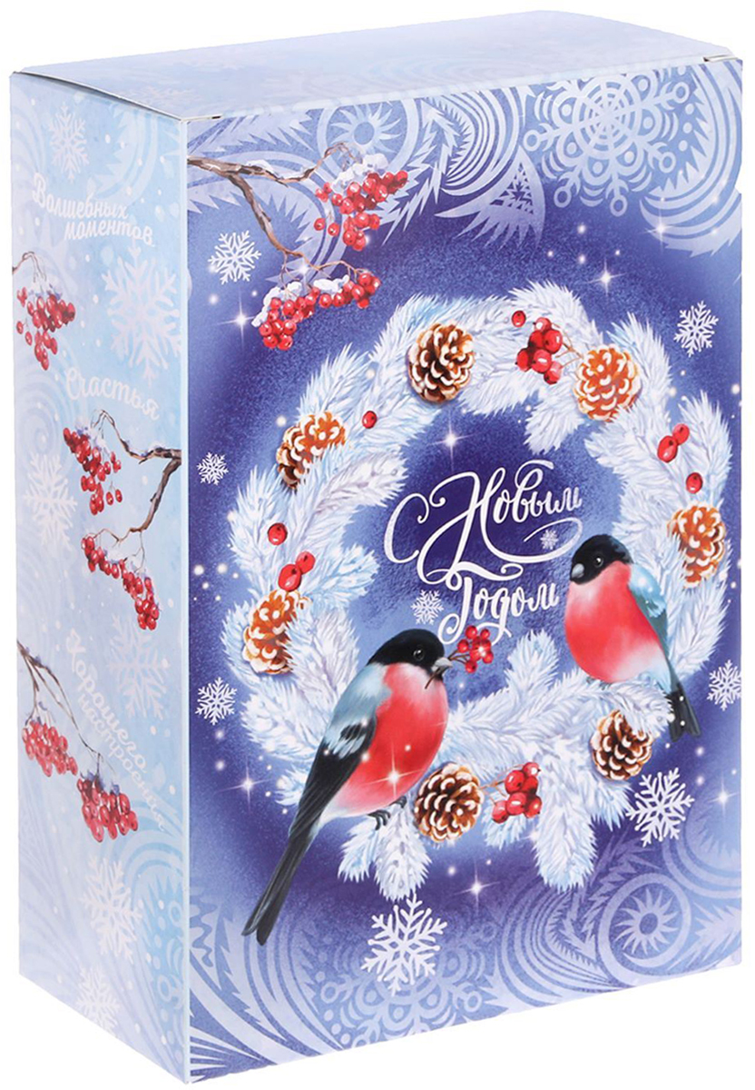 Коробка складная Дарите счастье Снегири на венке, цвет: синий, белый, 16 х 23 х 7,5 см коробка складная дарите счастье снегири на санях цвет синий красный 23 5 х 14 5 х 18 см