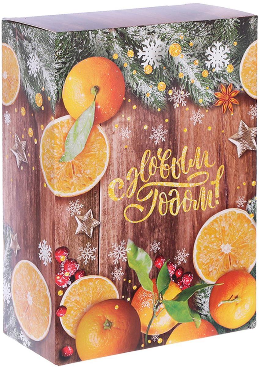 Коробка складная Дарите счастье Зимние мандарины, цвет: коричневый, оранжевый, 16 х 23 х 7,5 см коробка складная дарите счастье снегири на санях цвет синий красный 23 5 х 14 5 х 18 см