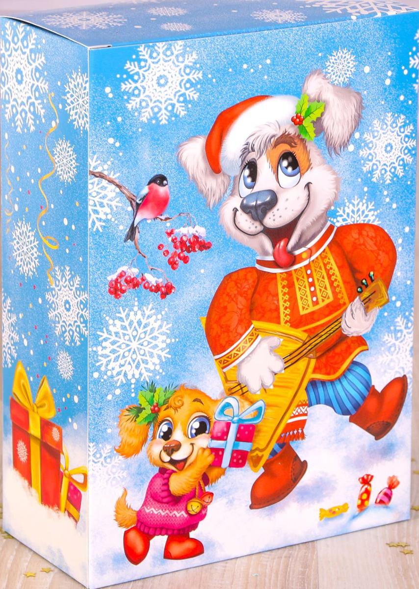 Коробка складная Дарите счастье Русские забавы, цвет: голубой, белый, 16 х 23 х 7,5 см коробка складная дарите счастье снегири на санях цвет синий красный 23 5 х 14 5 х 18 см