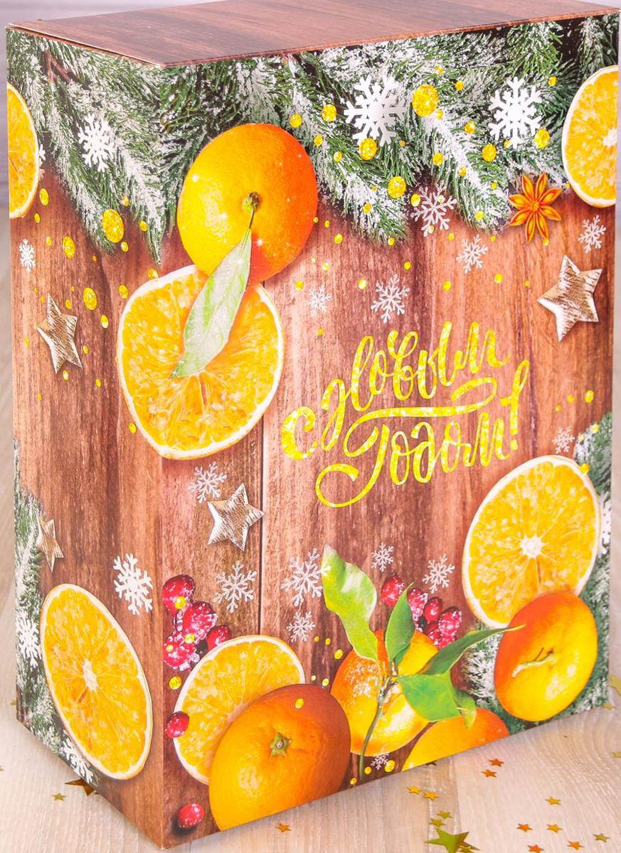 Коробка складная Дарите счастье Зимние мандарины, цвет: оранжевый, светло-коричневый, 22 х 30 х 10 см коробка складная дарите счастье снегири на санях цвет синий красный 23 5 х 14 5 х 18 см
