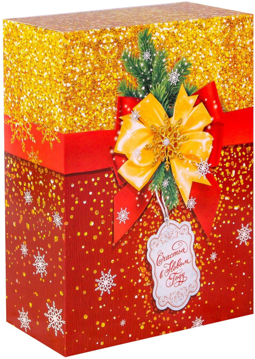 Коробка складная Дарите счастье Сверкающий Новый год, цвет: красный, золотой, 22 х 30 х 10 см2450835Любой подарок начинается с упаковки. Что может быть трогательнее и волшебнее, чем ритуал разворачивания полученного презента. И именно оригинальная, со вкусом выбранная упаковка выделит ваш подарок из массы других. Складная коробка Дарите счастье Сверкающий Новый год продемонстрирует самые теплые чувства к виновнику торжества и создаст сказочную атмосферу праздника.Размер: 22 х 30 х 10 см.