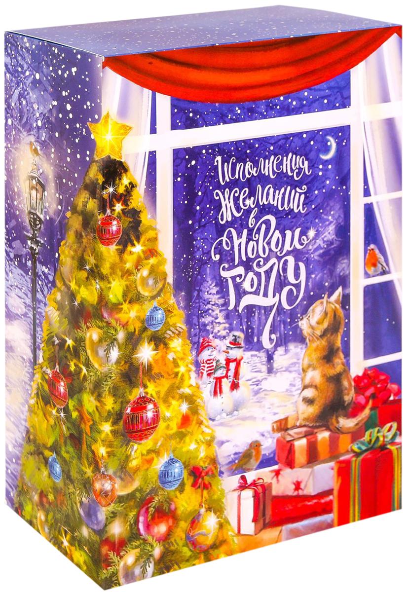 Коробка складная Дарите счастье Загадай желание, цвет: синий, красный, зеленый, 22 х 30 х 10 см коробка складная дарите счастье снегири на санях цвет синий красный 23 5 х 14 5 х 18 см