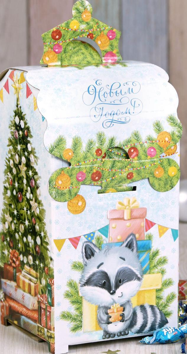 Коробка складная Дарите счастье Зверята с подарками, 13,5 х 13,5 х 26 см набор для специй queen ruby цвет красный 2 предмета qr 8794