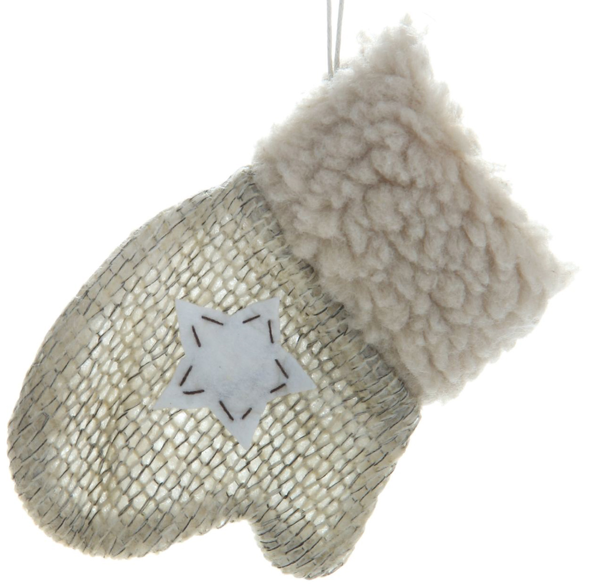Варежка подарочная Sima-land Звездочка, цвет: бежевый, 11,5 см. 334337334337Оригинальный мешочек Sima-land, выполненный в виде варежки, - отличное обрамление для подарков! Также это - красивый сувенир, который украсит любой дом в новогодний праздник. Прекрасная традиция класть подарки в подвесной мешочек добавит волшебства в новогоднюю ночь!