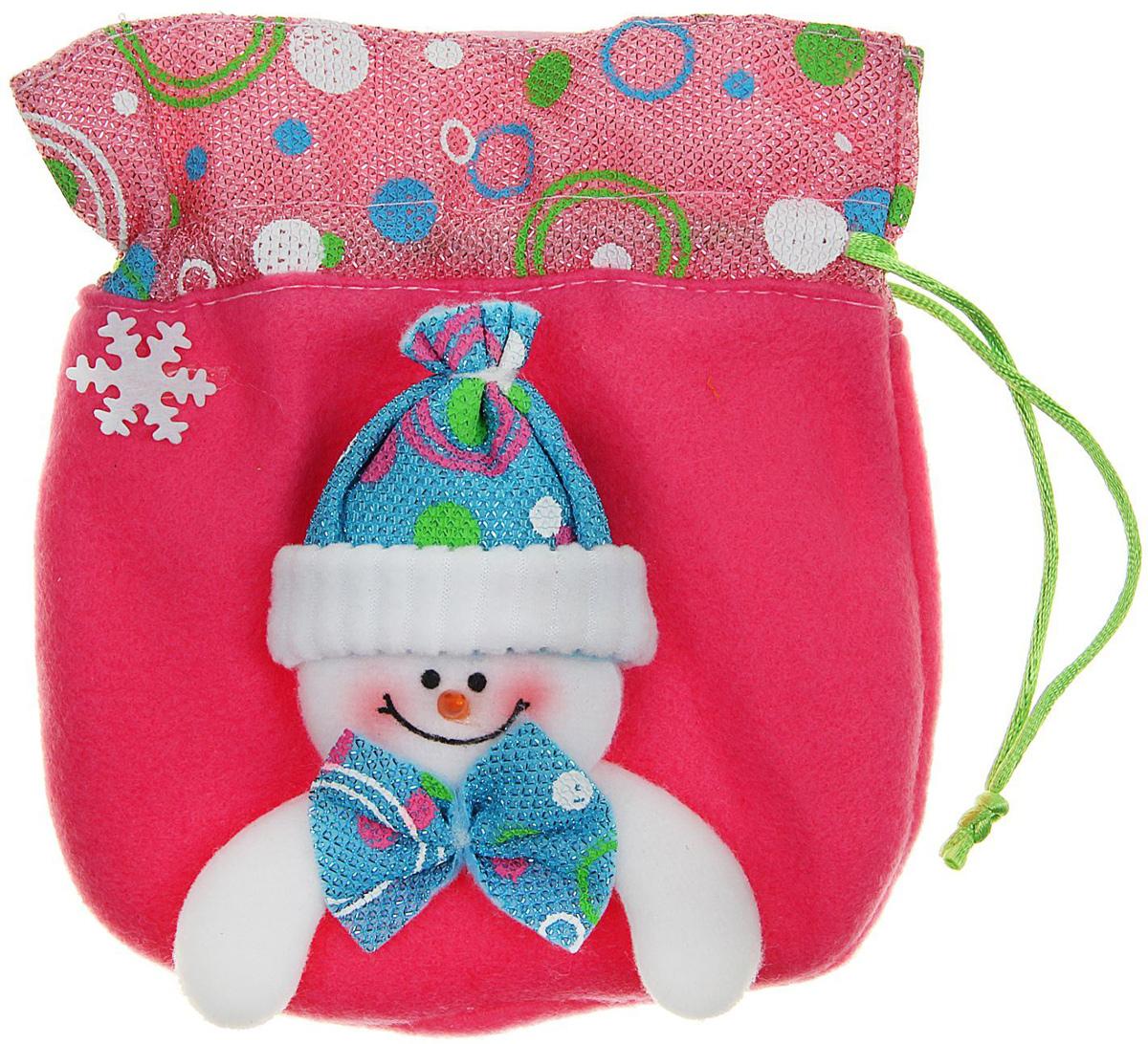 """Мешок для подарков Sima-land """"Снеговик в шапочке"""", цвет: розовый, 15 х 16 см. 511964"""