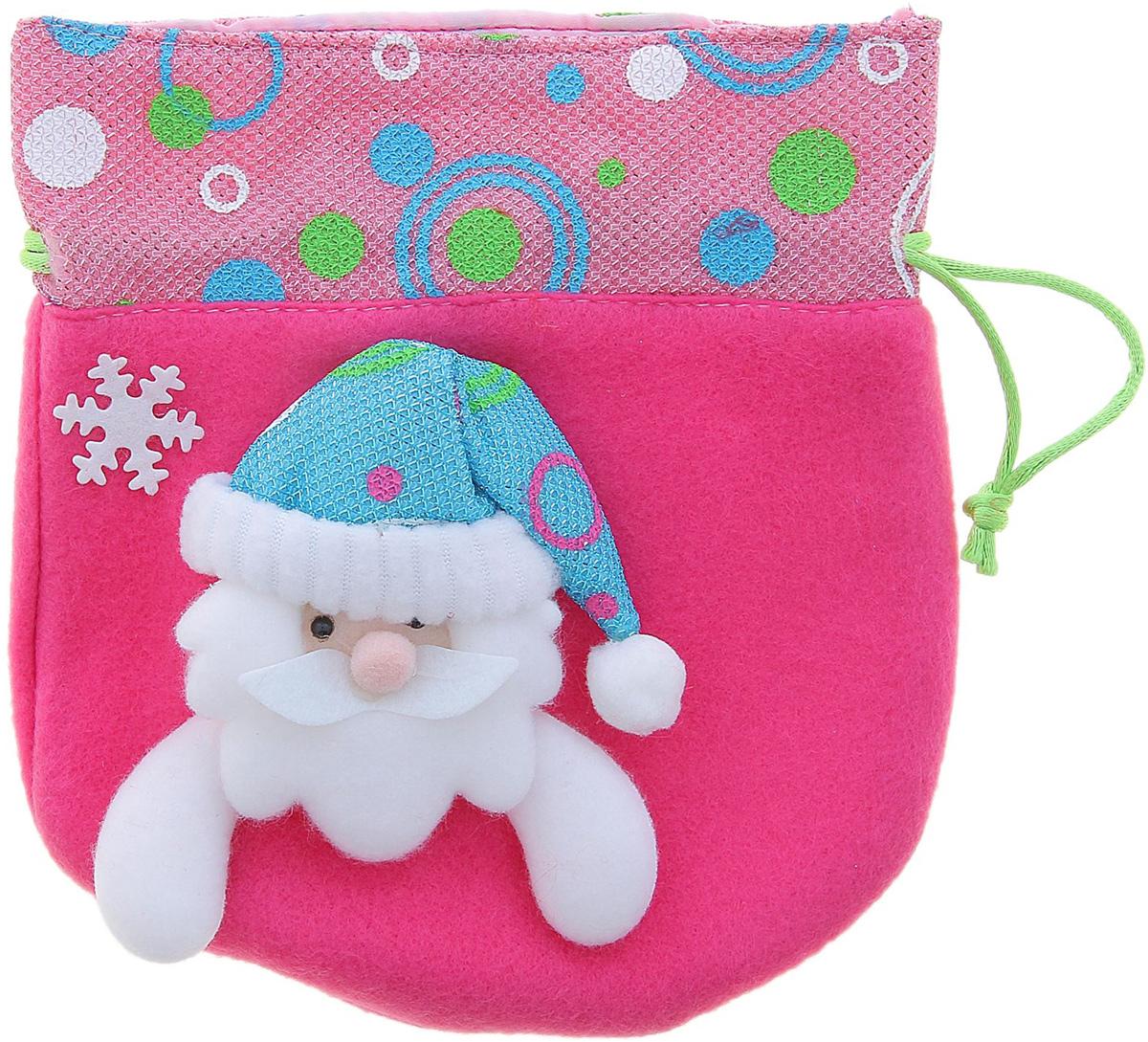 """Мешок для подарков Sima-land """"Дед мороз в шапочке"""", цвет: розовый, 15 х 16 см. 511966"""
