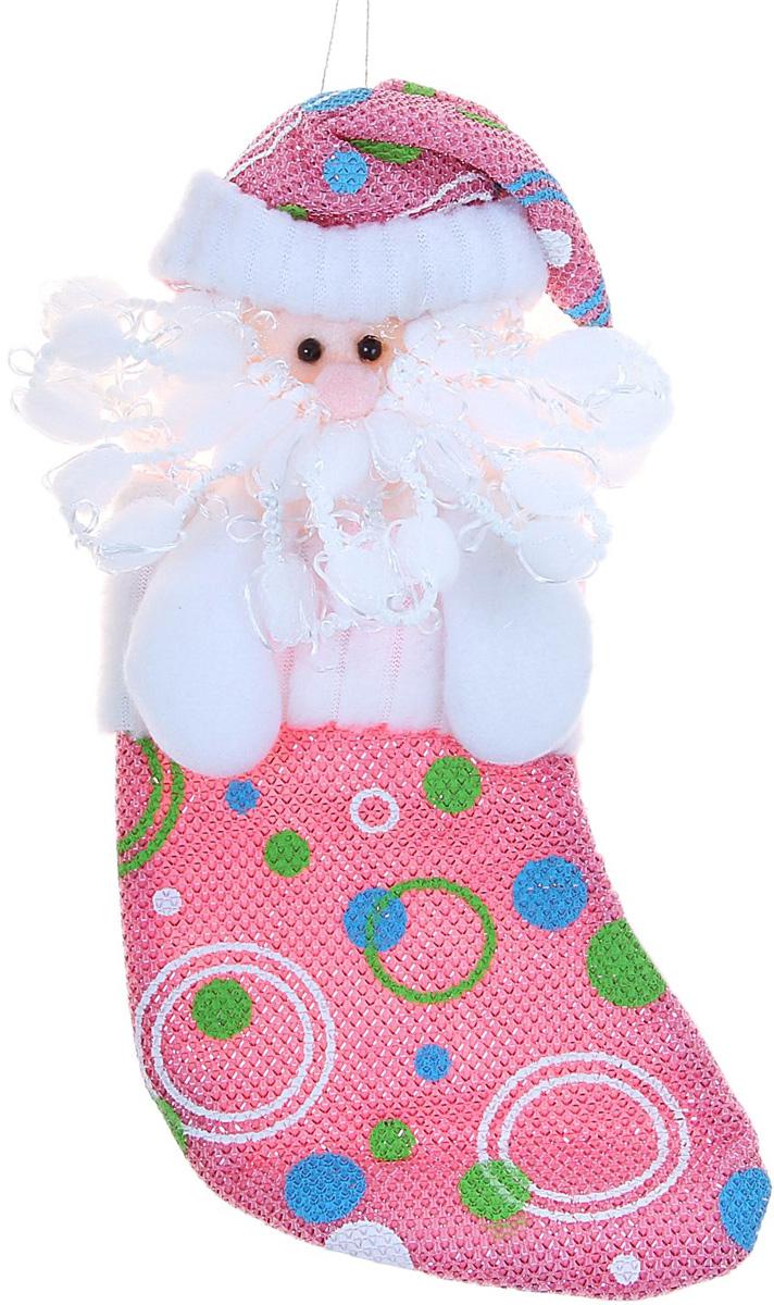 Носок для подарков Sima-land Дед Мороз, цвет: розовый горох, 20 х 10 см512504Оригинальный носок для подарков Sima-land - отличное обрамление для подарков! Также это - красивый сувенир, который украсит любой дом в новогодний праздник. Прекрасная традиция класть подарки в подвесной мешочек-носок добавит волшебства в новогоднюю ночь!