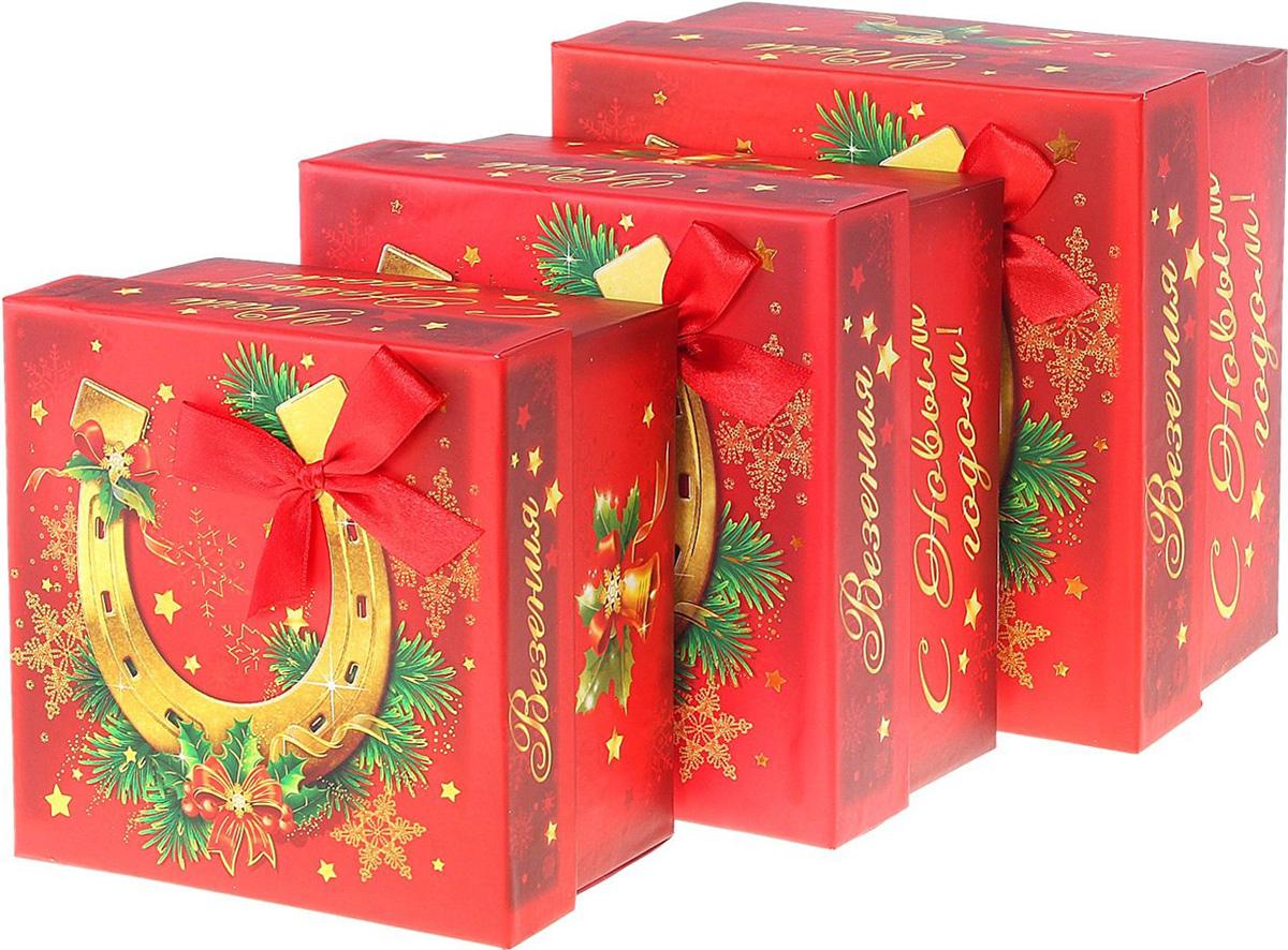 Набор коробок Sima-land Квадрат. Подкова, тиснение, 3 шт687508Набор коробок Sima-land выполнен из картона. В наборе 3 коробки.Оригинальная упаковка выделит презент из массы других, расскажет о ваших теплых чувствах, наполнит праздник сказочной атмосферой.