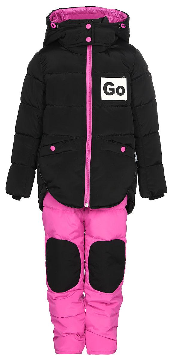 Комплект верхней одежды для девочки Boom!: куртка, брюки, цвет: черный. 70600_BOG_вар.3. Размер 110, 5-6 лет70600_BOG_вар.3Комплект для девочки Boom! включает в себя куртку и брюки. Куртка с длинными рукавами и капюшоном выполнена из прочного полиэстера и имеет подкладку из полиэстера и флиса. Модель застегивается на застежку-молнию спереди. Теплые брюки на талии дополнены широкой эластичной резинкой.
