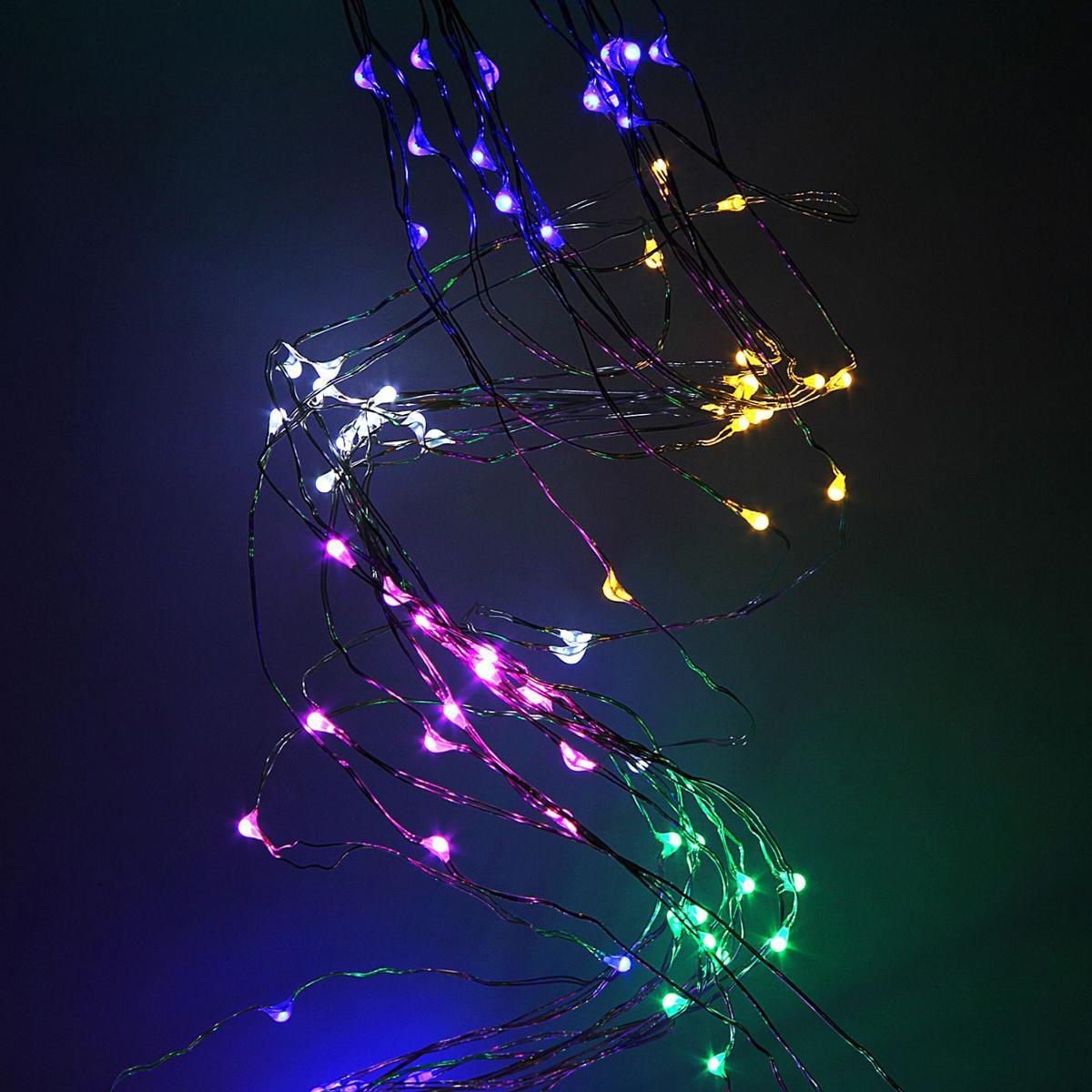 Гирлянда светодиодная Luazon Конский хвост, цвет: мультиколор, 120 ламп, 8 режимов, 12 V, 10 нитей, длина 1 м. 1080601 гирлянда luazon дождь 2m 6m multicolor 671678