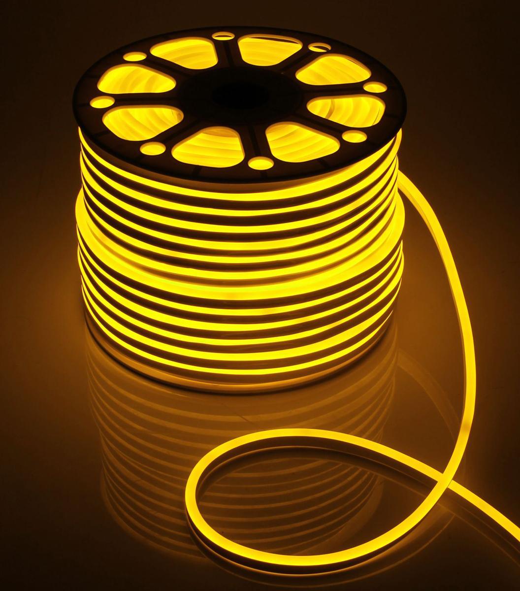 Гирлянда светодиодная  Luazon , 120 ламп, 220 V, цвет: желтый, 0,8 см х 1,6 см х 100 м. 1431274 -  Гирлянды и светильники