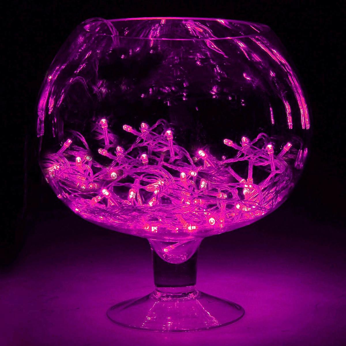Гирлянда светодиодная Luazon Метраж, 8 режимов, 100 ламп, 220 V, 6,5 м, цвет: розовый. 187171187171Светодиодные гирлянды, ленты и т.д. — это отличный вариант для новогоднего оформления интерьера или фасада. С их помощью помещение любого размера можно превратить в праздничный зал, а внешние элементы зданий, украшенные ими, мгновенно станут напоминать очертания сказочного дворца. Такие украшения создают ауру предвкушения чуда. Деревья, фасады, витрины, окна и арки будто специально созданы, чтобы вы украсили их светящимися нитями.