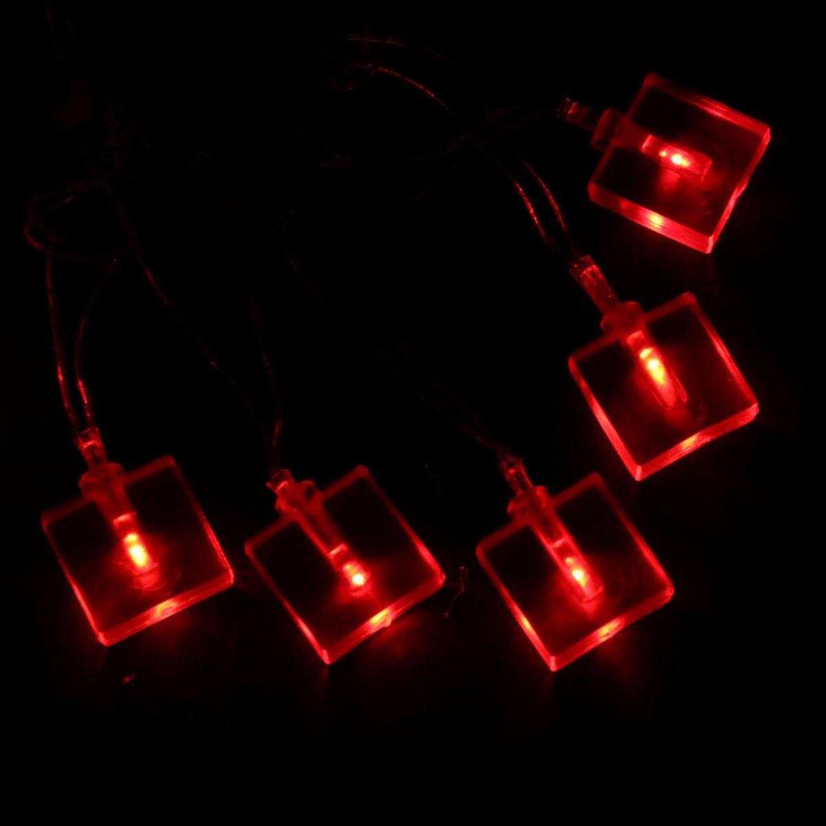 Гирлянда светодиодная Sima-land Метраж. Кубики, цвет: красный, 70 ламп, 8 режимов, 220 V, длина 10 м