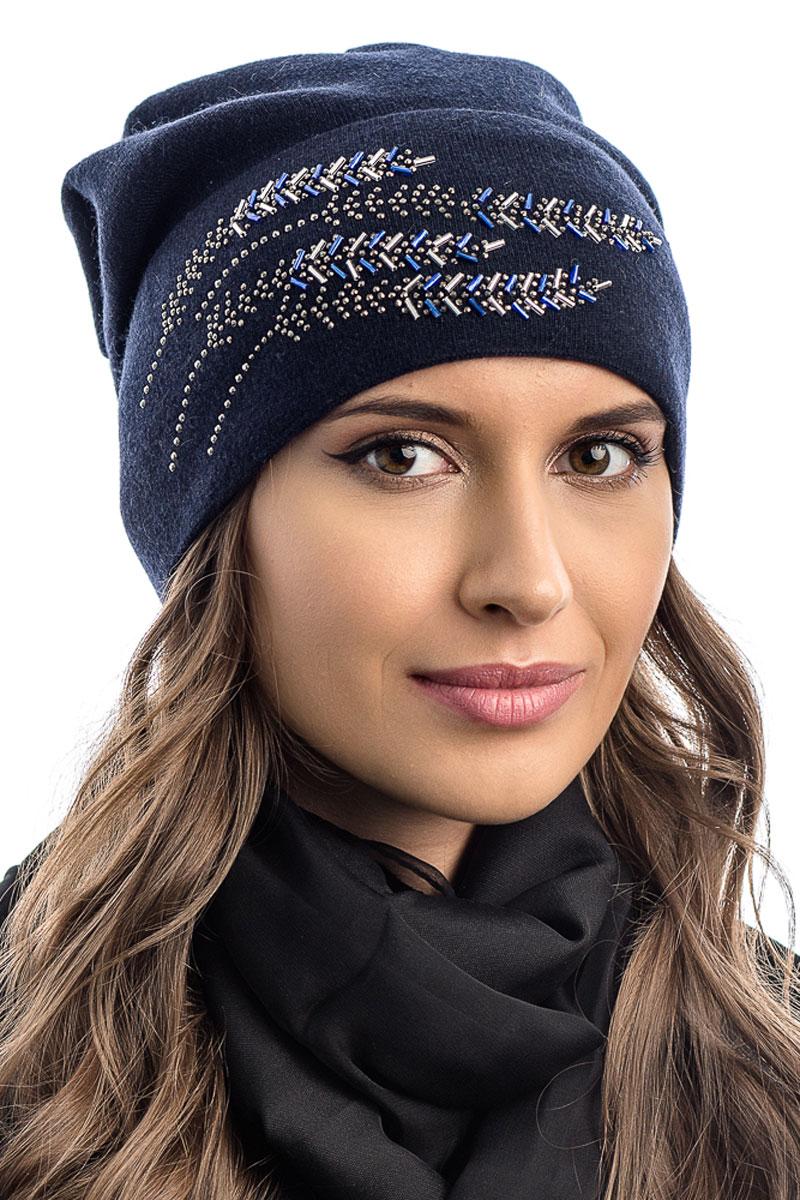 Шапка вязаная женская Stilla, цвет: синий. SH-1761/09. Размер 52/58SH-1761/09Элегантная вязаная женская шапка Stilla, изготовленная из пряжи с содержанием шерсти и акрила исключительно мягкая, комфортная и теплая. Мелкая одинарная вязка, декорированная украшениями делает эту модель не забываемой. Практичная форма шапки делает ее очень комфортной. Без подкладки с широким отворотом.Шапка Stilla прекрасно дополнит ваш образ с шубой или пальто.