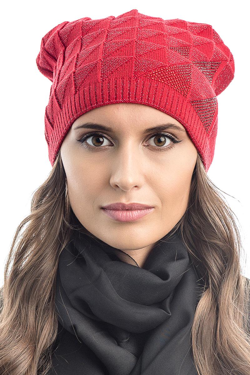 Шапка вязаная женская Stilla, цвет: красный. SH-1764/08. Размер 52/58SH-1764/08Элегантная вязаная женская шапка Stilla, изготовленная из пряжи с содержанием шерсти и акрила исключительно мягкая, комфортная и теплая. Мелкая плотная вязка, делает эту модель эффектной и не забываемой. Практичная форма шапки делает ее очень комфортной. Трикотажная подкладка отлично защитит в сильный холод.Шапка Stilla декорированная стразами, прекрасно дополнит ваш образ с шубой или пальто.