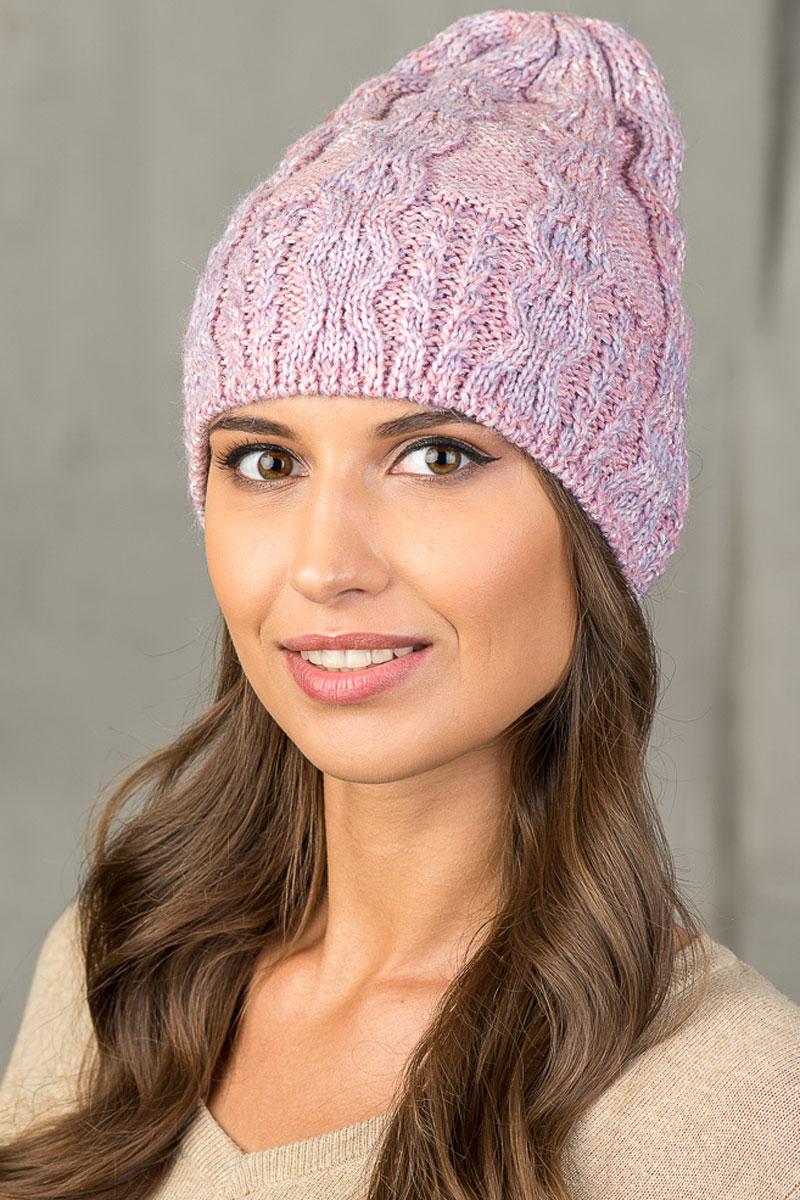 Шапка вязаная женская Stilla, цвет: розовый. SH-5469/9. Размер 52/58 ru 5469