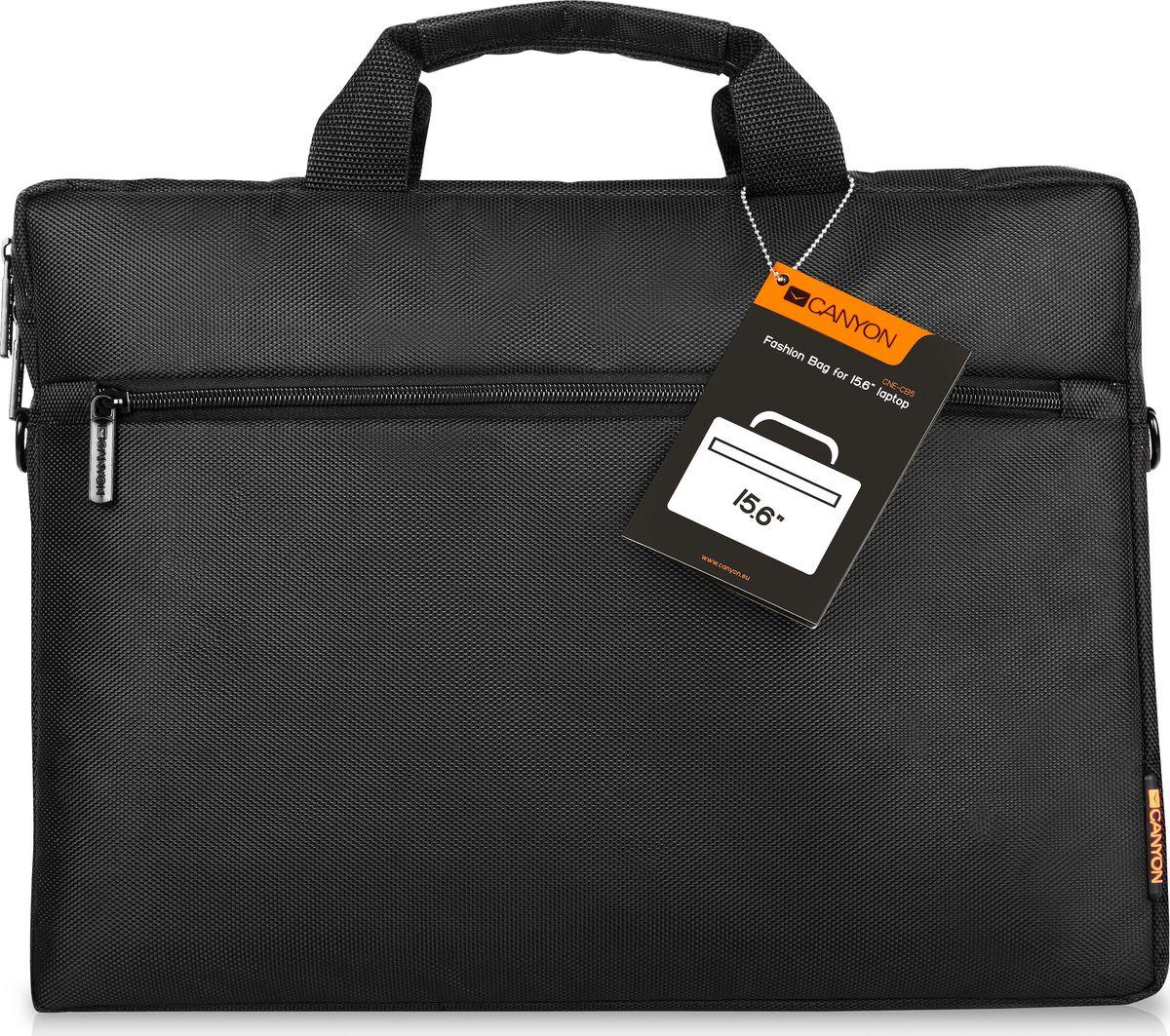 Canyon CNE-CB5B2 сумка для ноутбука 15,6Canyon CNE-CB5B2 сумка для ноутбука 15,6Сумка Canyon CNE-CB5B2 черного цвета представляет собой незаменимый аксессуар для людей, ведущих активный образ жизни. Обладая съемным плечевым ремнем, регулируемым по длине и обеспечивающим максимальный комфорт при переноске, она прекрасно подходит для средних ноутбуков с диагональю до 15 дюймов. Данная модель оснащена передним карманом на молнии для быстрого доступа к вашим вещам, а также мягкими стенками, предотвращающими появление повреждений у вашего компьютера.