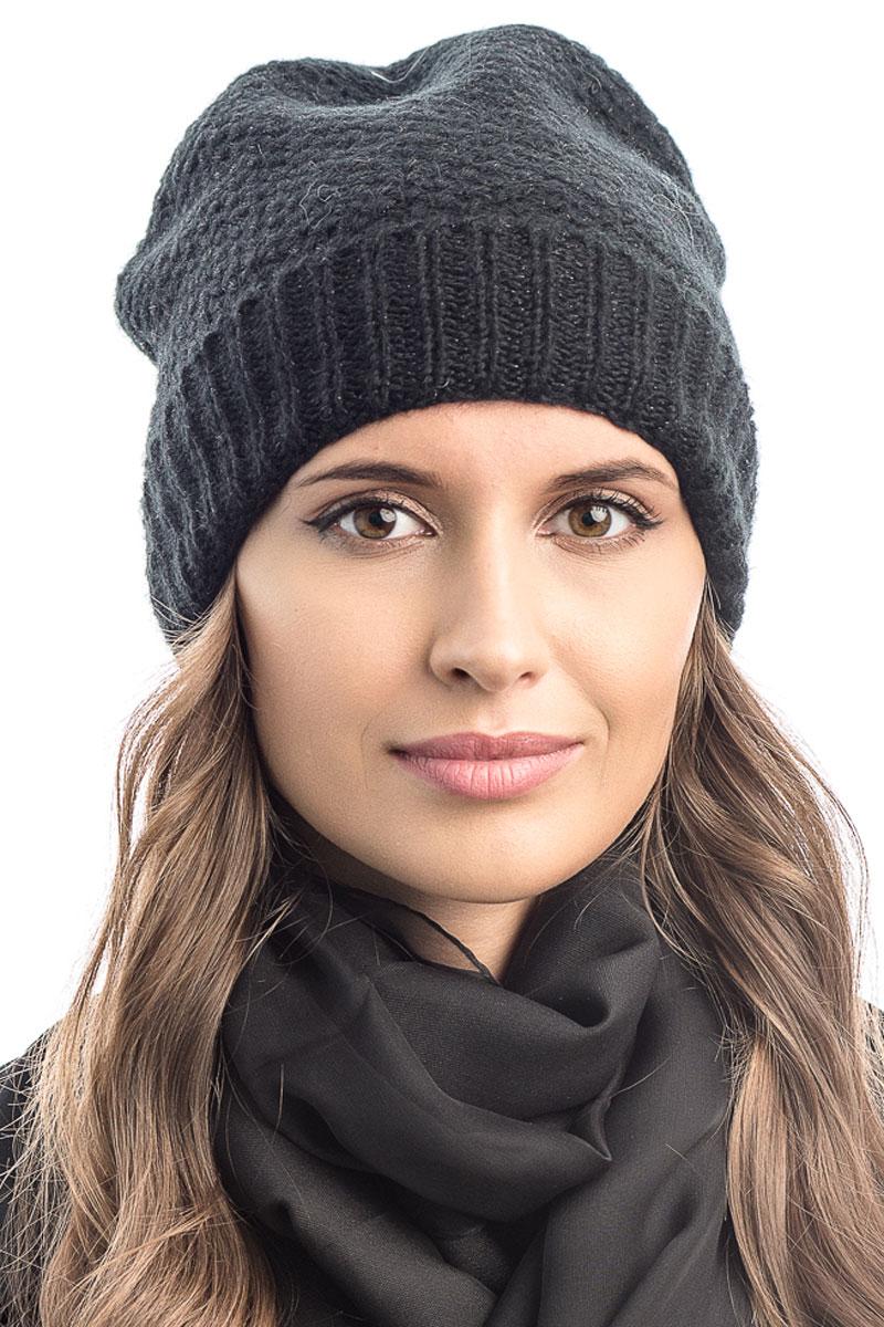 Шапка вязаная женская Stilla, цвет: черный. SH-1765/07. Размер 52/58SH-1765/07Элегантная вязаная женская шапка Stilla, изготовленная из пряжи с содержанием шерсти и акрила исключительно мягкая, комфортная и теплая. Одинарная вязка, декорированная ниткой люрекса, делает эту модель эффектной и не забываемой. Практичная форма шапки делает ее очень комфортной. Очень мягкая пряжа создает ощущение теплого пуха.Шапка Stilla прекрасно дополнит ваш образ с шубой или пальто.