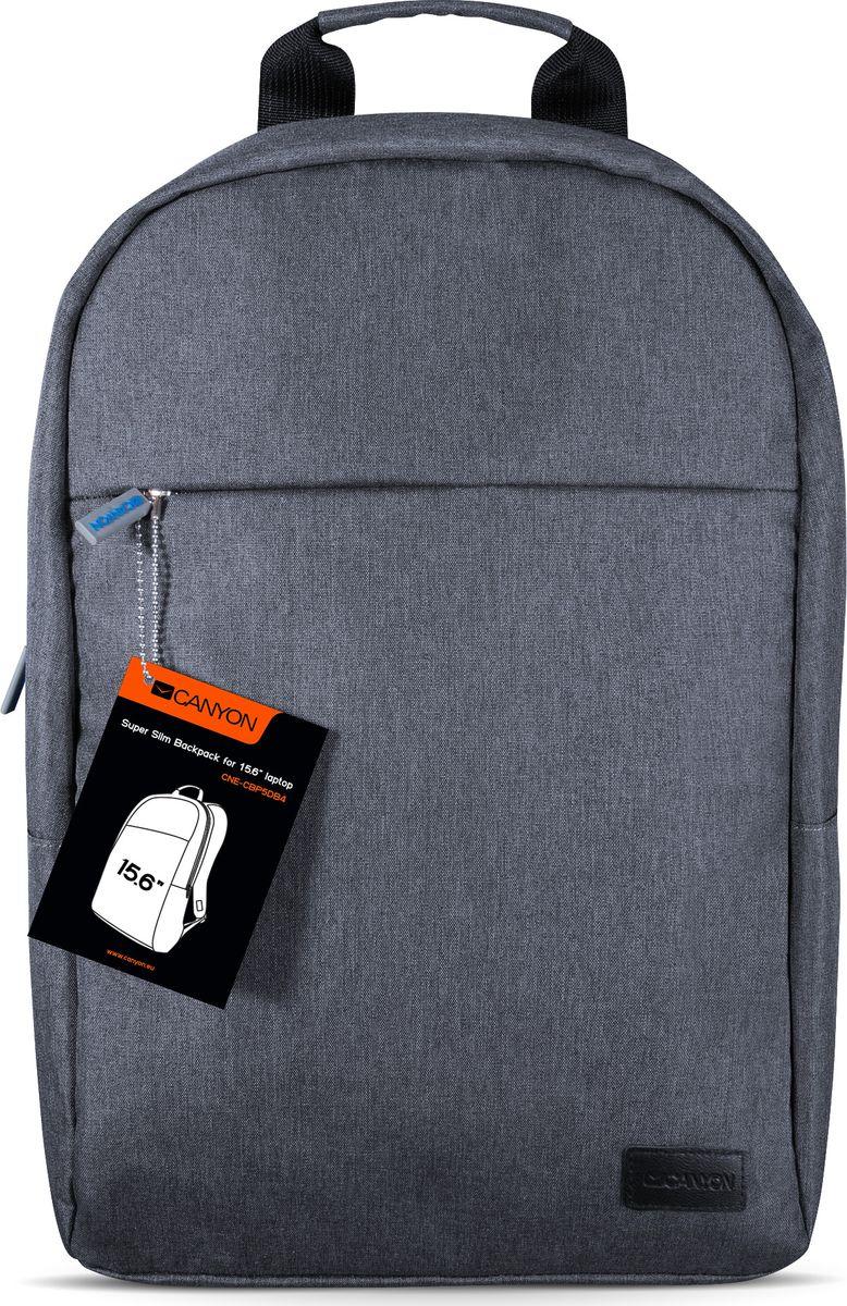 Canyon CNE-CBP5DB4 Super Slim рюкзак для ноутбука 15,6Canyon Super Slim рюкзак для ноутбука 15,6Рюкзак Canyon CNE-CBP5DB4 станет незаменимым аксессуаром для людей, чья жизнь проходит в постоянном движении. Обладая регулируемыми по длине плечевыми ремнями, обеспечивающими комфорт при переноске, он отлично подойдет для средних ноутбуков с диагональю до 15.6 дюймов. Его минималистичный дизайн не содержит в себе ни чего лишнего кроме переднего кармана на молнии и основного отделения с тремя внутренними карманами.