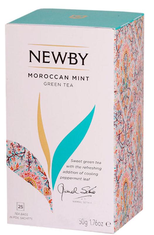 Newby Moroccan Nights зеленый чай с мятой в пакетиках, 25 шт311720В Марокко местные жители приветствуют своих гостей зеленым чаем с ярким мятным послевкусием. Чай Newby Moroccan Nights отдает дань уважения этой традиции и предлагает купаж, который гармонично сочетает в себе лучший зеленый чай и ароматные весенние листочки марокканской мяты. Яркий и сбалансированный вкус чая Moroccan Nights благоухает пряным, чистым мятным вкусом и обладает освежающим послевкусием.Уважаемые клиенты!Обращаем ваше внимание на возможные изменения в дизайне упаковки. Качественные характеристики товара остаются неизменными. Поставка осуществляется в зависимости от наличия на складе.