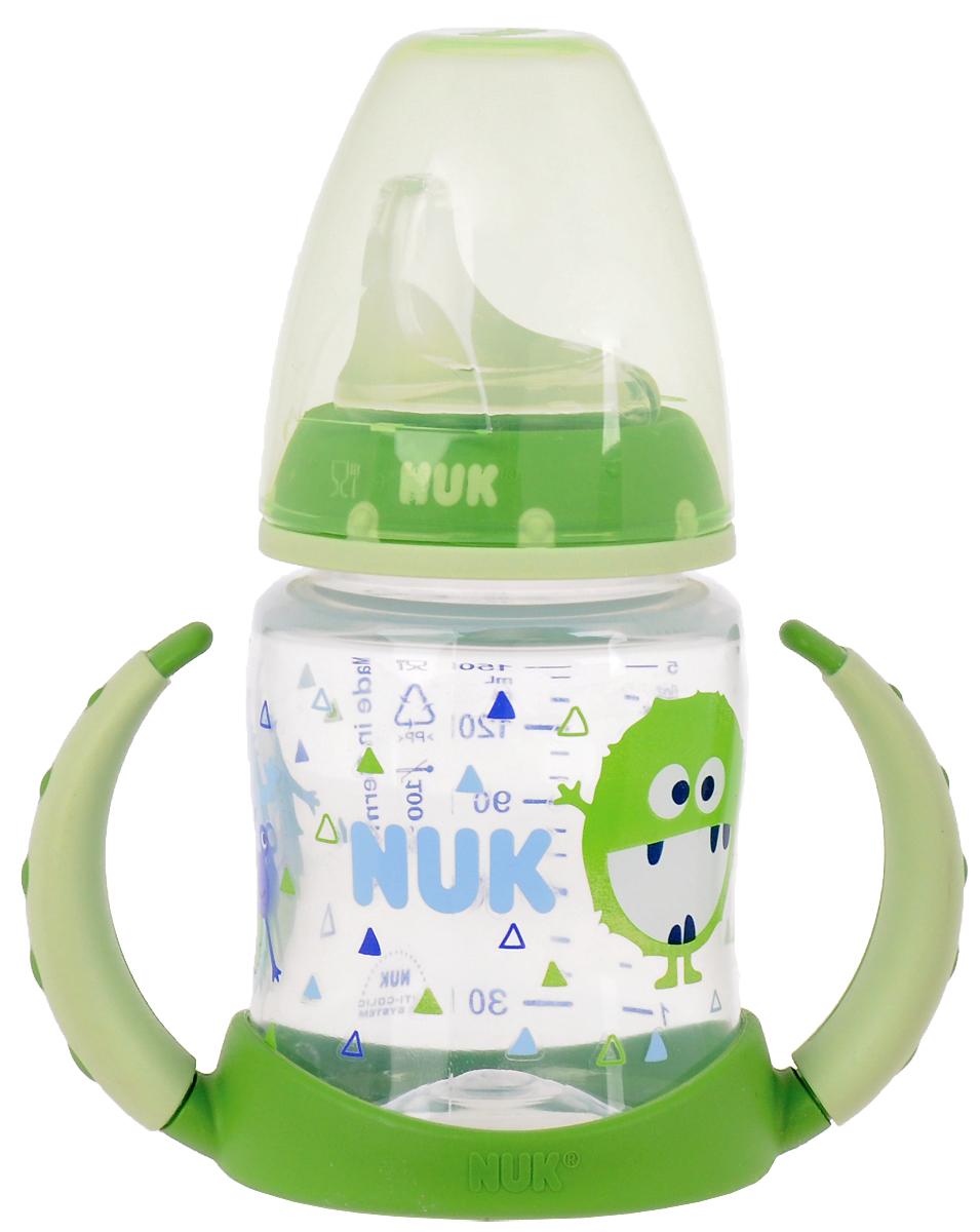 """Бутылочка-поильник NUK """"First Choice"""", с силиконовым носиком, от 6 до 18 месяцев, цвет: салатовый, 150 мл, Mapa GmbH."""
