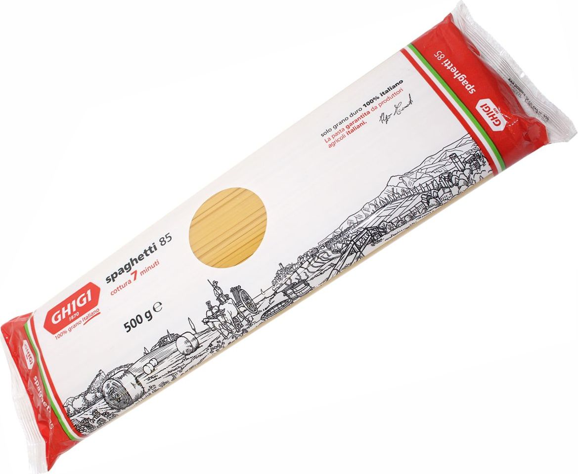 Ghigi cпагетти № 85, 500 гМ00085Традиционный и самый популярный в мире вид макаронных изделий. Визитная карточка итальянской кухни. Варить в кипящей подсоленной воде 7 минут.Лайфхаки по варке круп и пасты. Статья OZON Гид