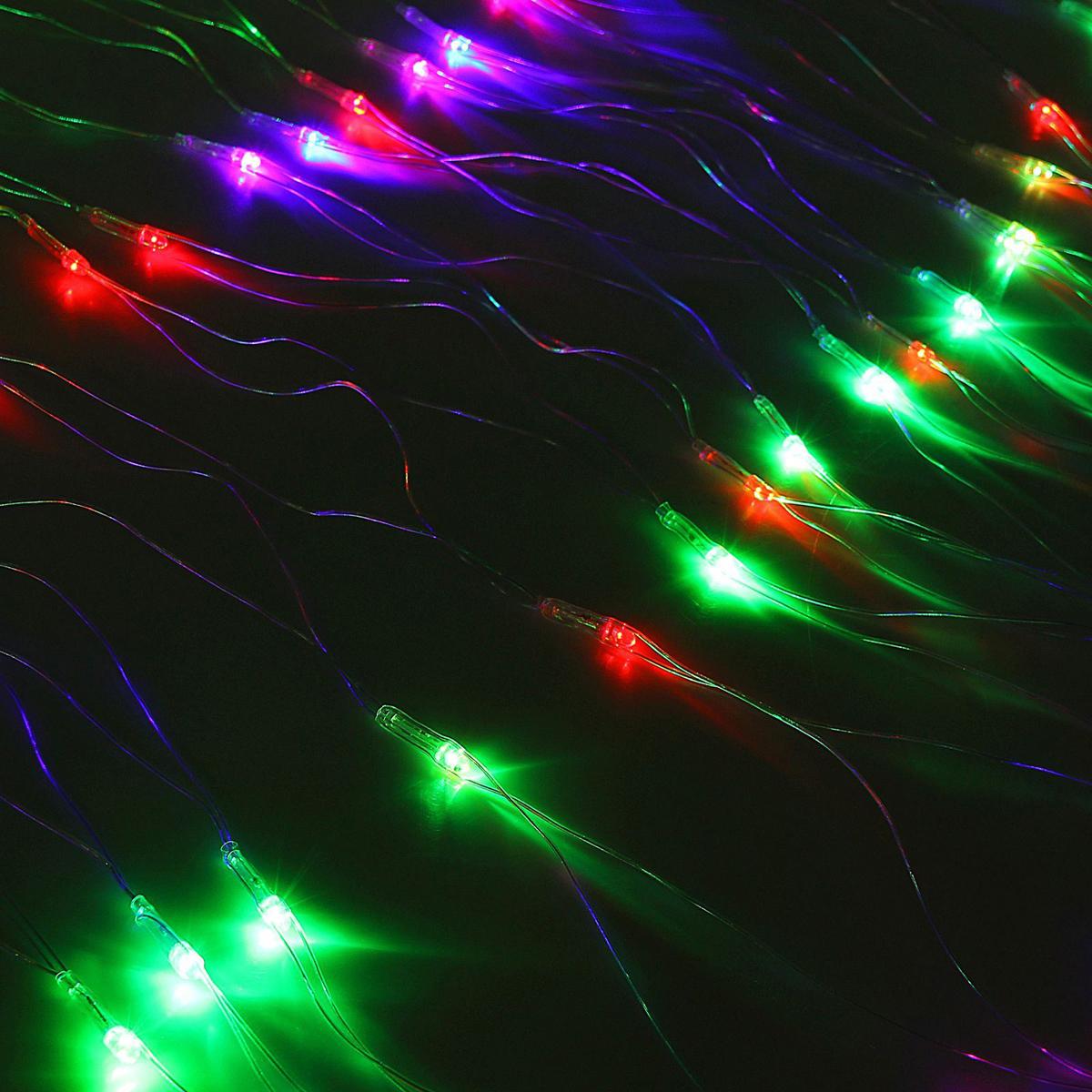 Гирлянда Luazon Сетка, длина 0,9 м, LED 120 ламп, 220V, цвет: мультиколор. 10804841080484Светодиодные гирлянды, ленты и т.д — это отличный вариант для новогоднего оформления интерьера или фасада. С их помощью помещение любого размера можно превратить в праздничный зал, а внешние элементы зданий, украшенные ими, мгновенно станут напоминать очертания сказочного дворца. Такие украшения создают ауру предвкушения чуда. Деревья, фасады, витрины, окна и арки будто специально созданы, чтобы вы украсили их светящимися нитями.