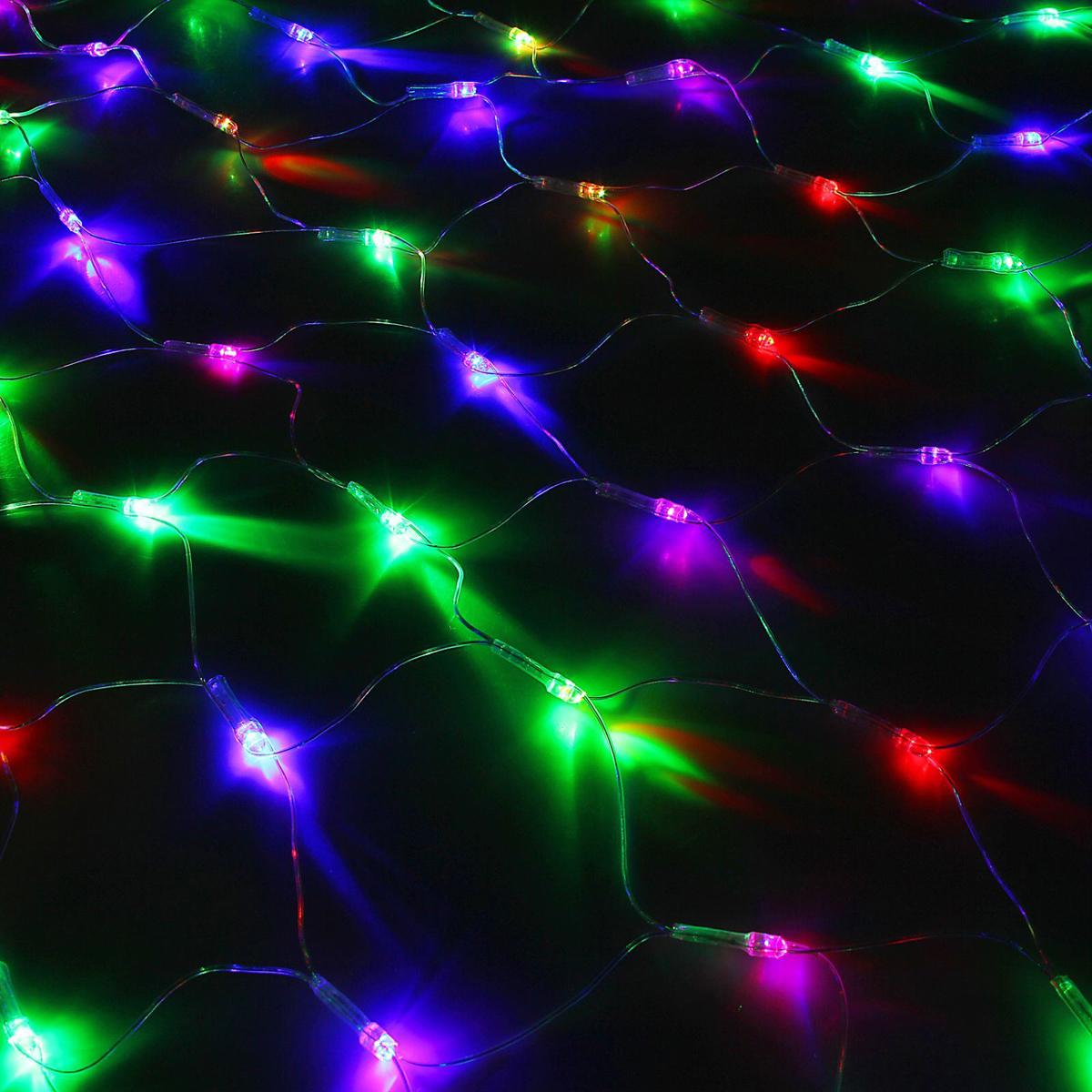 Гирлянда Luazon Сетка, длина 0,9 м, LED 120 ламп, 220V, цвет: мультиколор. 10804881080488Светодиодные гирлянды, ленты и т.д — это отличный вариант для новогоднего оформления интерьера или фасада. С их помощью помещение любого размера можно превратить в праздничный зал, а внешние элементы зданий, украшенные ими, мгновенно станут напоминать очертания сказочного дворца. Такие украшения создают ауру предвкушения чуда. Деревья, фасады, витрины, окна и арки будто специально созданы, чтобы вы украсили их светящимися нитями.