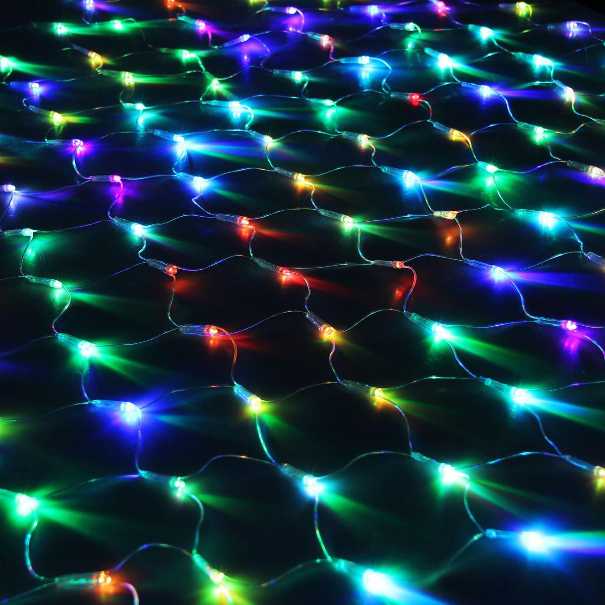 Гирлянда Luazon Сетка, длина 1,1 м, LED 144 ламп, 220V, цвет: мультиколор. 10804931080493Светодиодные гирлянды, ленты и т.д — это отличный вариант для новогоднего оформления интерьера или фасада. С их помощью помещение любого размера можно превратить в праздничный зал, а внешние элементы зданий, украшенные ими, мгновенно станут напоминать очертания сказочного дворца. Такие украшения создают ауру предвкушения чуда. Деревья, фасады, витрины, окна и арки будто специально созданы, чтобы вы украсили их светящимися нитями.